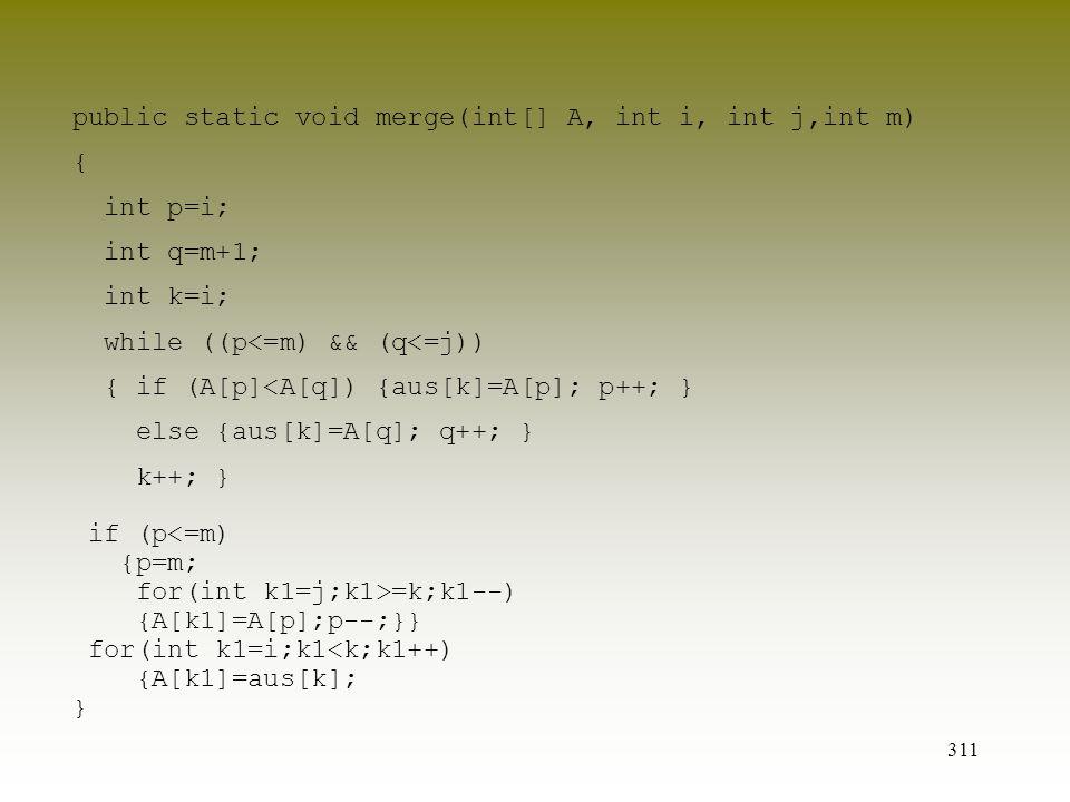 public static void merge(int[] A, int i, int j,int m)